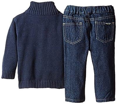 Nautica Baby Boys' 3 Piece Quarter-Zip Sweater, Button-Front Shirt, Denim Pant