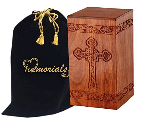 Memorials4u Solid Rosewood Cremation Urn with Hand-Carved Cross Design for Human Ashes - Adult Funeral Urn Handcrafted and Engraved - Affordable Urn for Ashes - Wood Urn (Cross Urn compare prices)