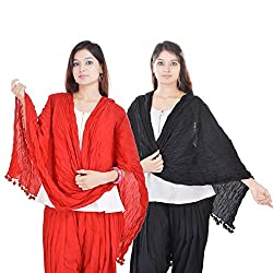 Kalrav Solid Red and Black Cotton Dupatta Combo