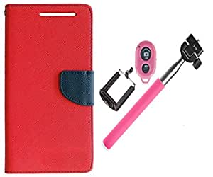Novo Style Wallet Case Cover For HTC Desire 616 Red + Selfie Stick with Adjustable Phone Holder and Bluetooth Wireless Remote Shutter