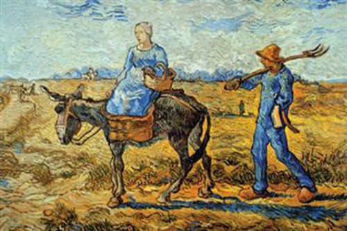 Walls 360 Peel & Stick Wall Decals: Morning with Farmer and Pitchfork by Vincent Van Gogh (12 in x 8 in)