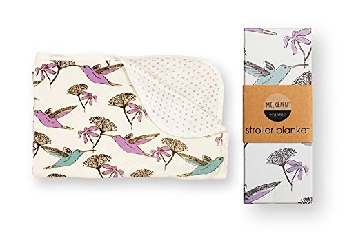 "Milk Barn Baby/Infant Organic Stroller Blanket ""Hummingbird"""