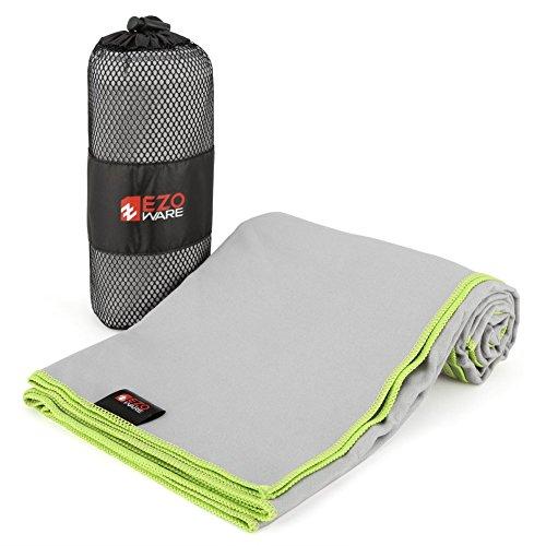 EZOWare Asciugamano in Microfibra Super Absorbente con Custodia di Trasporto per Palestra, Piscina, Viaggio, Spiaggia, Bagno, Camping - Grigio/Verde, Medio