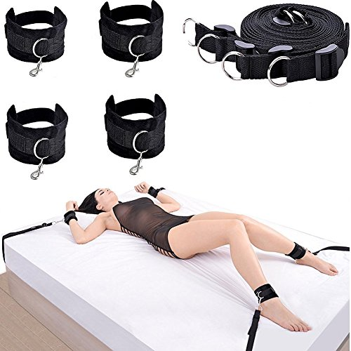 Under the Bed Bondage Restraint Kit - Adjustable Straps With Cuffs For Ankles And Wrists - Comfortable Nylon - Fits Almost Any Size Mattress Black (Binding Belt compare prices)
