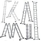 Cren® EN131 Thicken 15.5ft Aluminum extension Multi Purpose Step Platform Folding Scaffold Step Ladder - 300LB Capacity(15.5ft)