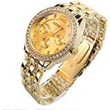 Mens Buiness Casual Wrist Watch with Big Round Crystal Dial Steel Metal Strap Gold