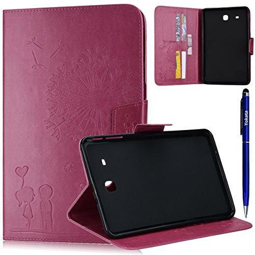 Samsung Galaxy Tab E 9.6 Hülle T560 / T561 Cover, Yotaka PU Case Flip Libro Ultra Sottile Leggero Retro Custodia Dandelion Motivo Antiurto Custodia Portafoglio Con Supporto Magnetica Protettiva Elastica Wallet Custodia 1*Penna Stilo - Rose