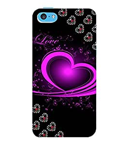 ColourCraft Love Heart Design Back Case Cover for APPLE IPHONE 5C
