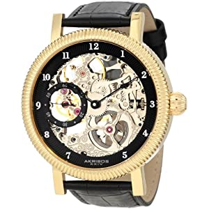 Akribos XXIV Men's AKR456YG Bravura Skelton Mechanical Gold Plated Stainless Steel Watch