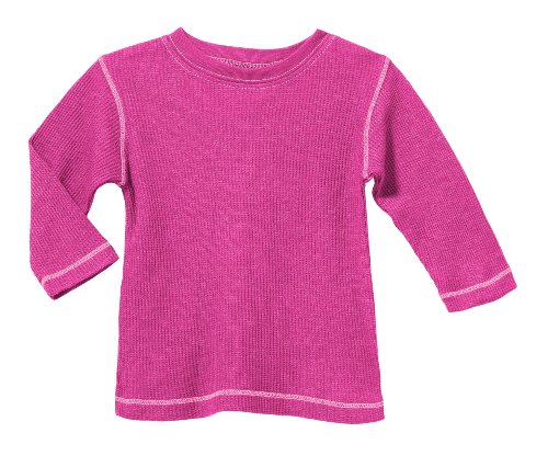 City Threads Little Boy and Girl Solid Thermal Tee T Shirt Shirt, Hot Pink w/ Lt. Pink, 2T