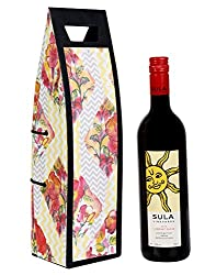 Gorgeous Floral Yellow Printed Card Board Paper Wine Bottle Holder By Rajrang