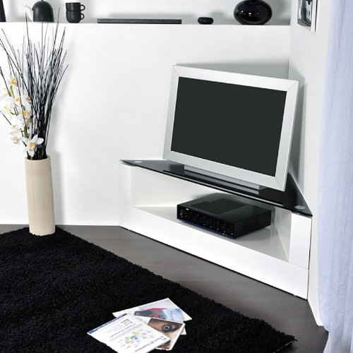 Meuble tv blanc laque angle solutions pour la d coration for Meuble tv angle design