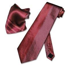 SILK Red & White Design NeckTie Handkerchief Matching Neck Tie Set