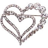 Amybria Schmuck h?hlen heraus Herz-Form silbrig Brosche Strass Inaly Beauty Geschenk Charming