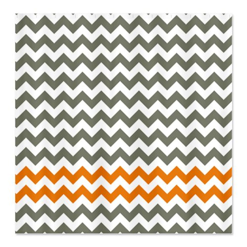 Gray and Orange Chevron Shower Curtain