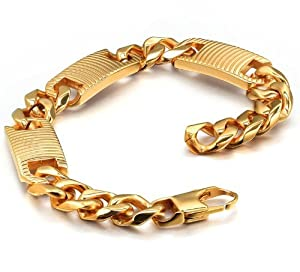 """Stainless Steel Men's Biker Gold Tone Wide Link Bracelet 9"""" - G6002Y from Arco Iris Jewelry"""