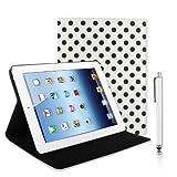NEU! KOLAY� Stylish Polka Dots iPad 3 H�lle - Schutzetui in Wei�, Premium iPad 3 Case + iPad Eingabestift & Displayschutzfolie mit Anleitung f�r Das Neue Apple iPad 3.Generation 2012