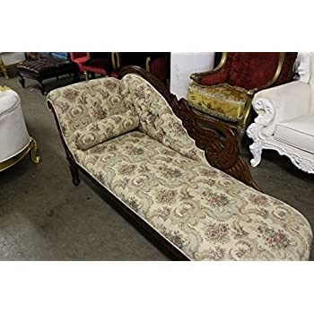 Italian Style Tapestry Chaise Lounge Carved Wood