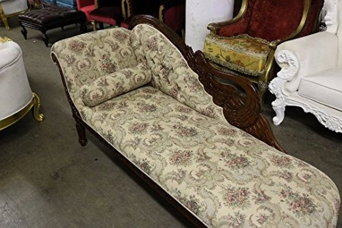 Italian Style Tapestry Chaise Lounge Carved Wood 1