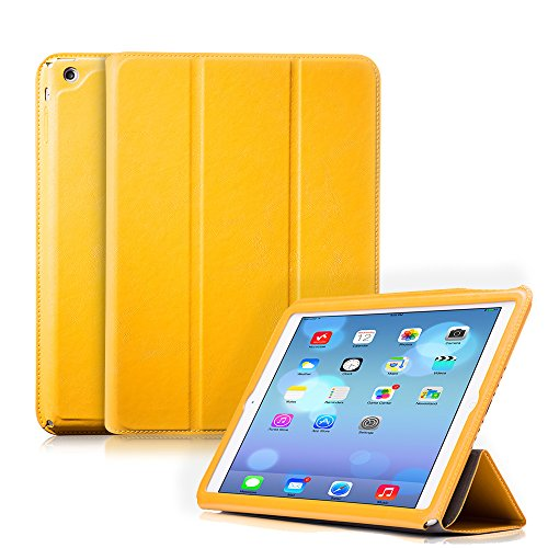Ivapo Luxury Vintage Multiple Angle Vision Stand Function Flip Cover Case With Auto Wake/Sleep Feature For Ipad Air/5 (Mm471) (Yellow)