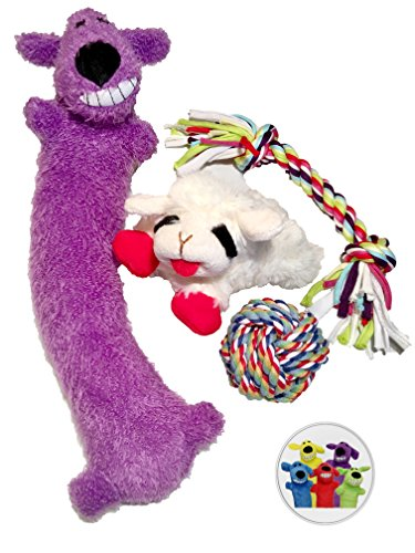 Dog Toys for Small-Medium Dogs (SET of 4) Chewing and Playing Tug of War Item, Cute Rope Ball, Squeaky Lamb Chop and Plush Loofa