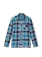 SEVENTYSEVEN Camisa Hombre Flannel Checked (Turquesa / Azul Marino)