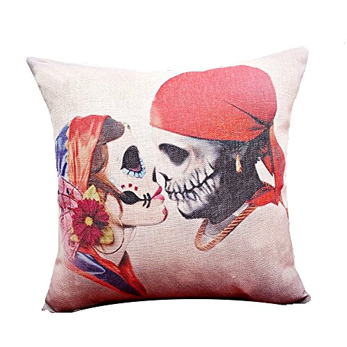 """Monkeysell Fangle Cotton Linen Square Decorative Throw Pillow Case Cushion Cover Black Multi Skull for Sofa Bed Chair 8 """"X18 """" (S031A7)"""