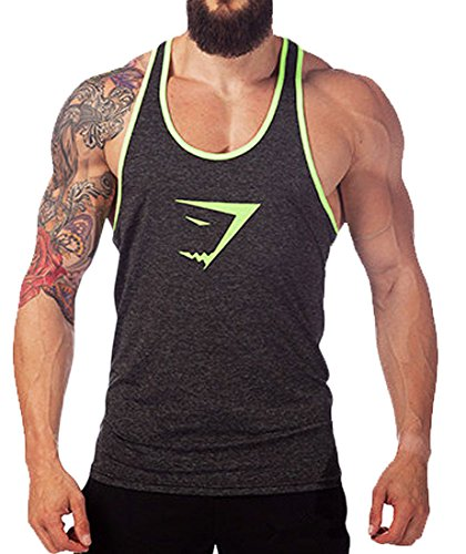 Tuesdays2 Men Gym Muscle Sleeveless Shirt Tank Top T-shirt Bodybuilding Sport Vest (L/US8, Gray) (Gym Shark Tank Top compare prices)