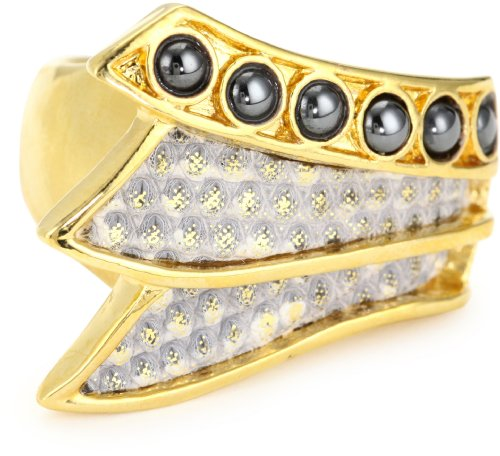 KARA by Kara Ross Tail Cover with Skin Inset and Gemstones with Gold Washed Ring Lizard Adjustable Ring