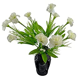 Thefancymart Artificial Carnation Flowers With Artistic Black Pot Style Code - FP-203