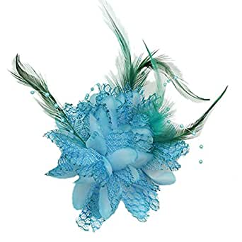Blue Flower Feather Bead Wrist Corsage Bridal Hair Clip Pin Brooch