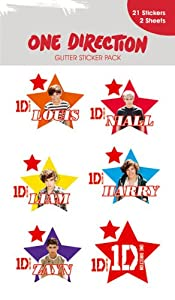 One Direction / 1D - Glitter Sticker Pack 1 (2 Sheets, 21 Stickers) (Various Sizes) from Merchandiseonline