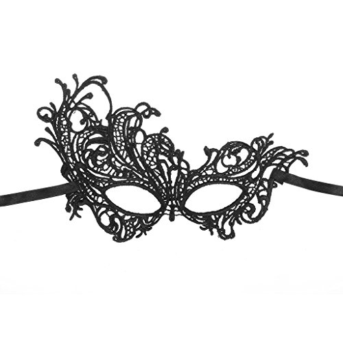 Women's Elegant Lace Mask of Phoenix Design for Masquerade Party - Black