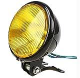 4.5インチ バイク 用 ヘッド ライト イエロー レンズ ビンテージ タイプ 前照灯 オートバイ