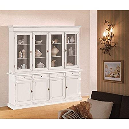 cristalliera Display Cabinet 2Doors 2Drawers Sideboard + Stand with Matt White-Wood-codluis 307-As Photo