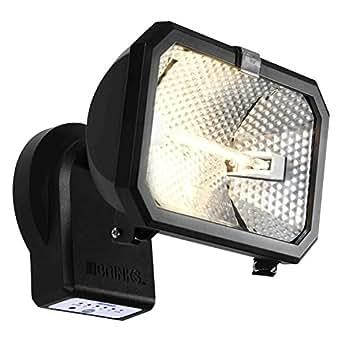 Single Head Halogen Flood Light. Night Activated Timer 300 Watts 3900 Lumens. Includes Energy Efficient Long Lasting Halogen Bulb.