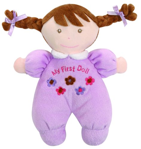 Stephan Baby Ultra Soft Plush My First Doll with Fair Complexion and Brown Hair, Lavender