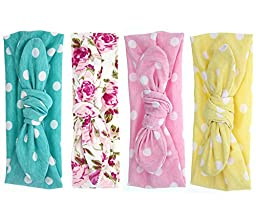 Mookiraer▒ Baby Girl Newest Round Dot Turban Headband Head Wrap Knotted Hair Band (4 Pack) (G33-3)
