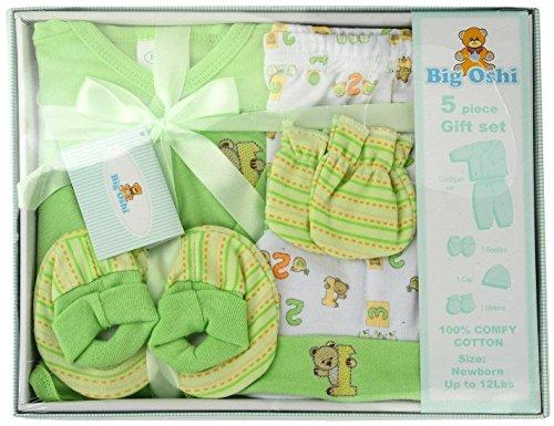 Big Oshi Unisex-baby Layette 5 Piece Gift Set, Green, 0-3 Months