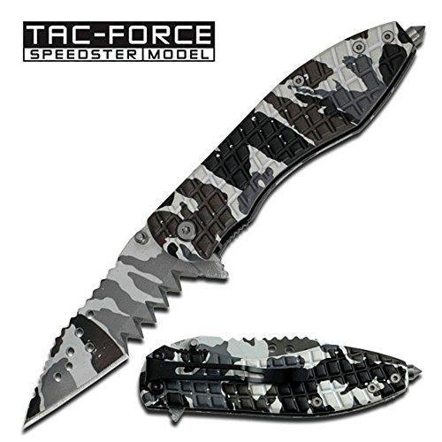 "Tac-Force Speedster ""Mutilator"" Ao Folding Knife - Snow Camo Design"