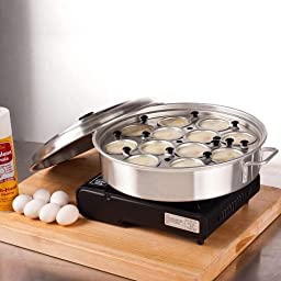Royal Industries Aluminum 12 Cup Egg Poacher with Lid \
