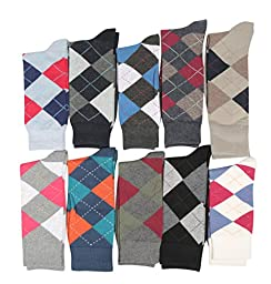 Fine Fit Mens Designer Dress Socks Argyle Pattern Size 10-13 (10 Pairs)
