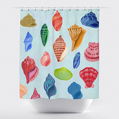 Gillham Studios Under the Sea Durable Fabric Shower Curtain Colorful Seashells