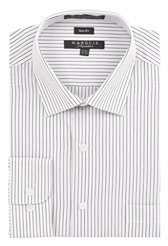 MARQUIS Men's Pin Striped Slim Fit Dress Shirt Extra-Large White / Black (White Dress Shirt Extra Slim Fit compare prices)