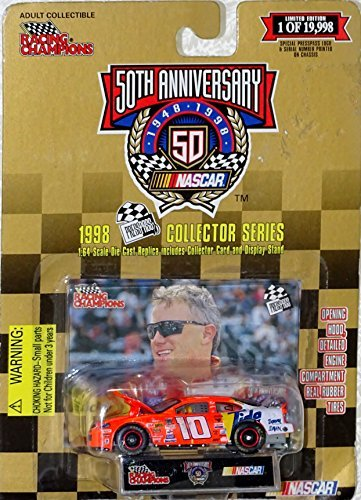 NASCAR 50th Anniversary - Racing Champions 1998 Pinnacle Collector Series - Limited Edition - 1:64 Scale Die Case Replica, Collector Card, Display Stand - Ricky Rudd #10 - Tide - Whirlpool - Ford Tarus by Racing Champions