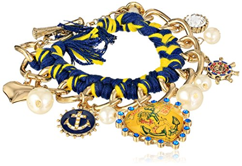 "Betsey Johnson ""Anchor Boost"" Braided Rope Pin-Up Girl Toggle Multi-Charm Bracelet, 7.5"" front-1061942"
