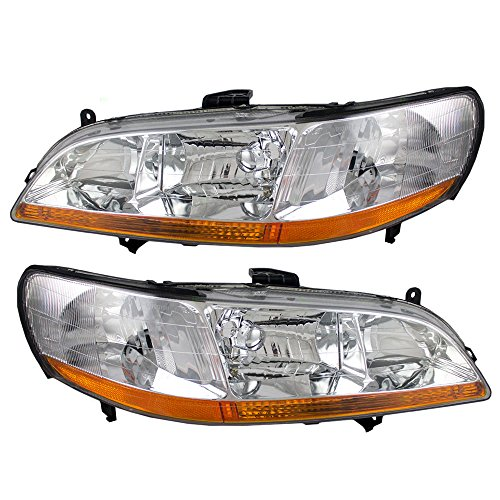 Driver and Passenger Headlights Headlamps Replacement for Honda 33151-S84-A01 33101-S84-A01 (1999 Honda Accord Headlights compare prices)