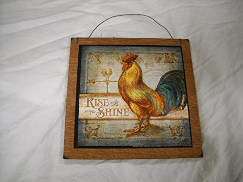 Rise and shine rooster country kitchen wooden wall art - Rooster wall decor kitchen ...