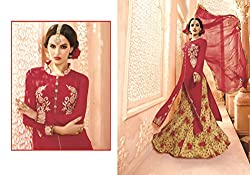 New Arrival Red Georgette Heavy Embroidery Semi-Stitched Salwar Suit Dress By Regalia Fashion
