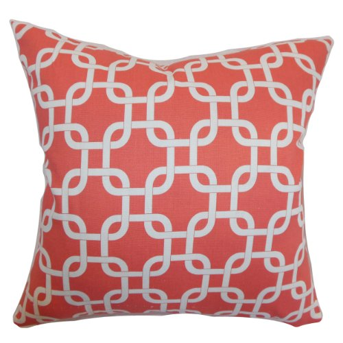 The Pillow Collection Qishn Geometric Pillow, Coral White